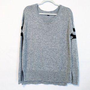 American Eagle Gray Sweater Baseball Stripe S